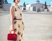 Vintage floral dress - Red, white, blue, Flowy, light and pretty.