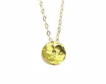 Hammered Disc Necklace, Gold Vermeil