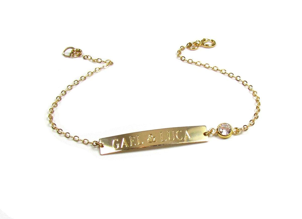 personalized nameplate bracelet engraved name bracelet 14kt