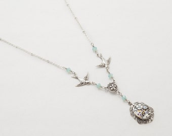 Steampunk Jewelry Vintage Watch Movement with Silver Bird Charms, Blue Opal Swarovski Crystal, Flower & Leaf Statement Necklace Jewelry Gift