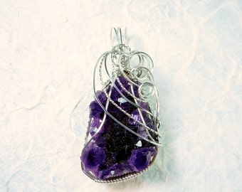 Amethyst Druzy Crystals in Sterling Silver