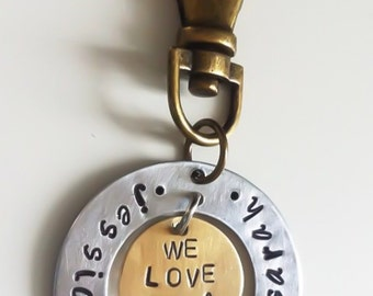 Fathers Day hand stamped keychain