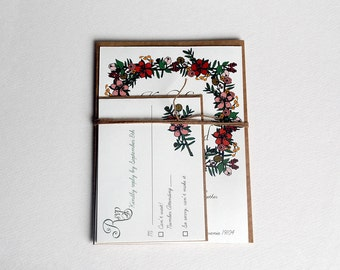 The Regina Collection - Vintage Inspired Floral Wedding Invitation Set in Green, Red, Pink, Brown and Gold -Purchase for a Sample