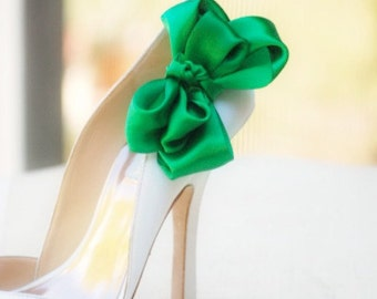 Wedding Shoe Clips. Emerald Green Bow. White Ivory Pearl Rhinestone. St Patricks Day. Satin Ribbon Red Teal Yellow Orange Blue Purple Golden