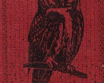 Ombre Owl Linocut- Designer Fabric- Sewn Monoprint- 4 x 6 inch