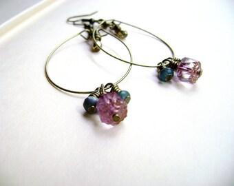 Simple delicate romantic dangle earrings - Violet Frozen blue aqua and a gold beads - feminine delicate earrings - minimalist jewelry