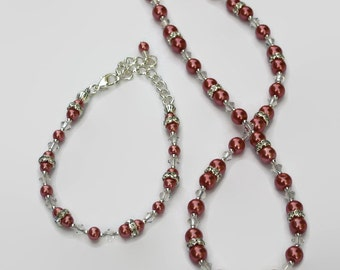 Dark Pink Cranberry Pearl Swarovski Crystal Necklace Bracelet, Gifts for Women Under 50, Wedding, Bridesmaids, Black Friday, Cyber Monday