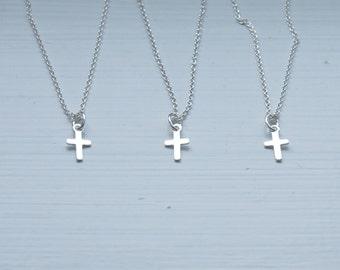 Silver cross necklace - tiny sterling silver cross pendant - little girl - baby cross - little cross - simple minimal jewelry - Shiloh mini