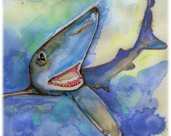 Blue Shark Watercolor Painting Print, Artist-Signed