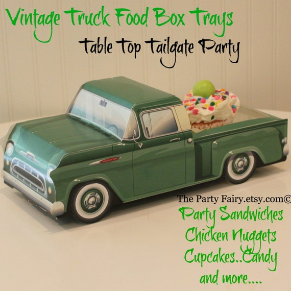 Food Truck Box- 6 Vintage Green Food Box Trays-Tailgate