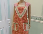 NEW APRONS, Rose, with small floral print, avacado bias tape, ivory lace trim, two pockets