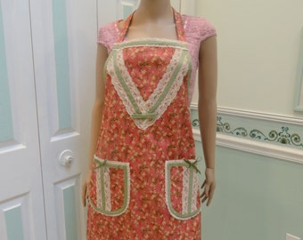 HANDMADE DESIGNER APRON : New style Apron, Rose, with small floral print, avacado bias tape, ivory lace trim, two pockets