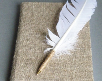 White Feather Wedding pen, Rustic Wedding Guest book pen, Feather Wedding Pens