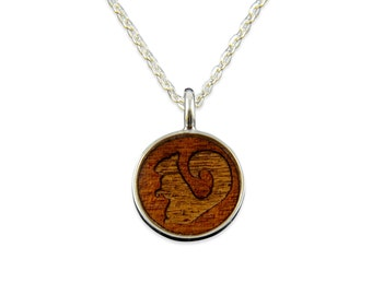 Squirrel Wood Pendant Necklace - Silver Squirrel and Dark Wood Necklace - Gwen Delicious Jewelry Designs