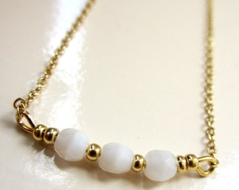 White Quartz Necklace, Gold Necklace, White Bead Necklace, Quartz Necklace, Simple Gold Necklace, White Necklace