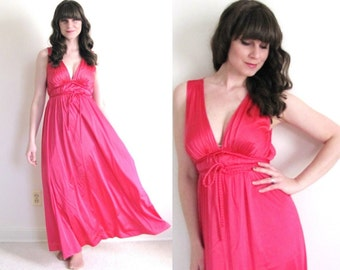 Vintage Nightgown / Grecian Nightgown / Hot Pink Lingerie