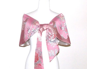 Vintage wedding KIMONO Shawl Butterfly pink spring flower birds gold white red green bow OBI size free made to order