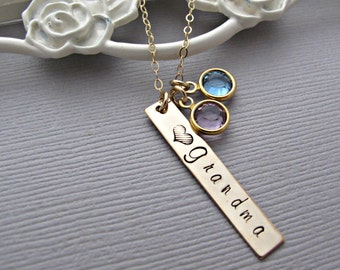 Grandma Necklace, Baby Name Necklace, Birthstone Jewelry, Birthdate, Hand Stamped Jewelry, Personalized