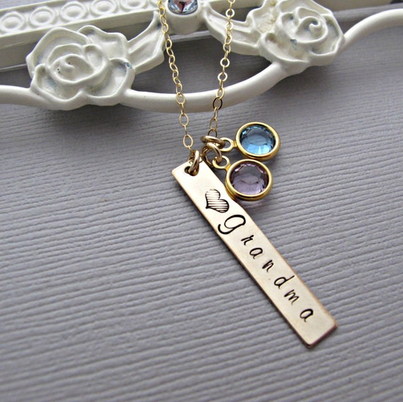 Grandma Necklace Baby Name Necklace Birthstone By