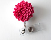 Raspberry Chrysanthemum  - Name Badge Holder - Retractable ID Badge Reel  - Nurse ID Badge Clip - Flower Badge Holder - RN Badge - Gift