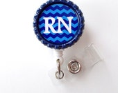 RN Chevron Blue and Navy - ID Badge Reel - Male Nurse Badge - Nursing Badge - Nurse Badge Clip - RN Badge Reel - Mens Badge Reel