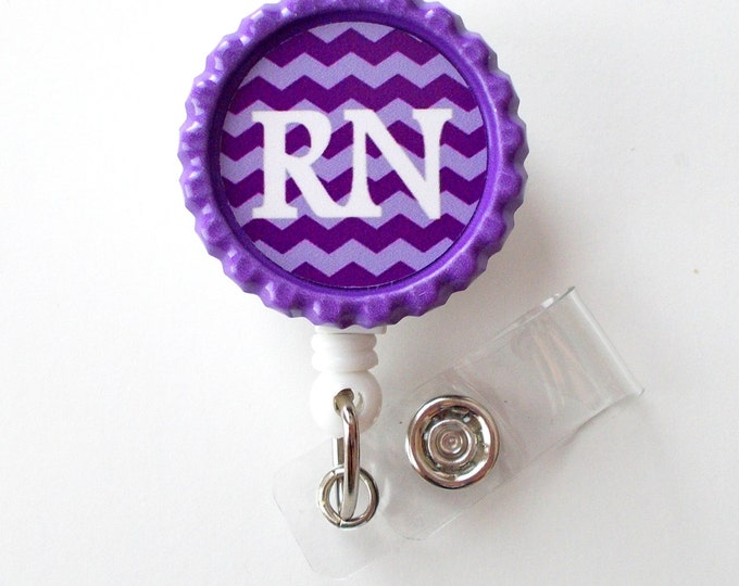 RN Chevron - ID Badge Reel - Name Tag Badge - Nursing Badge - Nurse Badge Clip - Cute ID Badge Reel