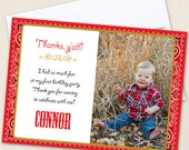 Country Western Photo Thank You Cards - Professionally printed *or* DIY printable
