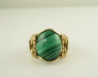RI-0046 Natural Malachite Gemstone Cabochon Handmade Ring Wire, Wrapped With 14k Gold Filled Wire