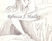 Mermaid Drying Her Hair Pencil Sketch ORIGINAL Drawing