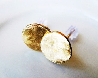 14K Gold Big Organic Round Stud Earrings. Recycled Eco Friendly Gold. Hand Made Solid Gold Earrings. Rustic Earthy Style Gold Earrings.