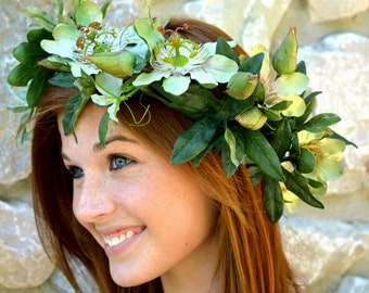 Flower Crown  Green Passion Flower Headpiece  With Single Removable Bobby Pin Flower accented with Swarovski Crystals