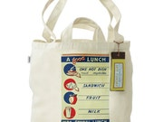 FREE SHIPPING 100% Recycled Cotton Tote Bag with Dual Handles- A Good School Lunch Hot Dish, Sandwich, Fruit, Milk