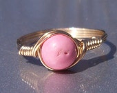 Pink Magnesite 14k Yellow Gold Filled Wire Wrapped Ring