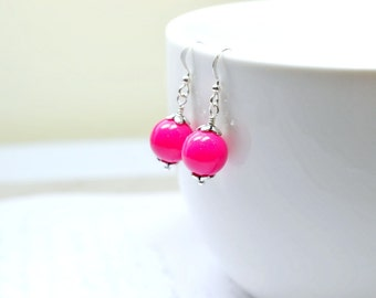 Begonia Pink Drop Earrings, Beaded Pink and Silver Earrings, Fun Fuchsia Jewelry, Dark Pink Violet Magenta Dangles
