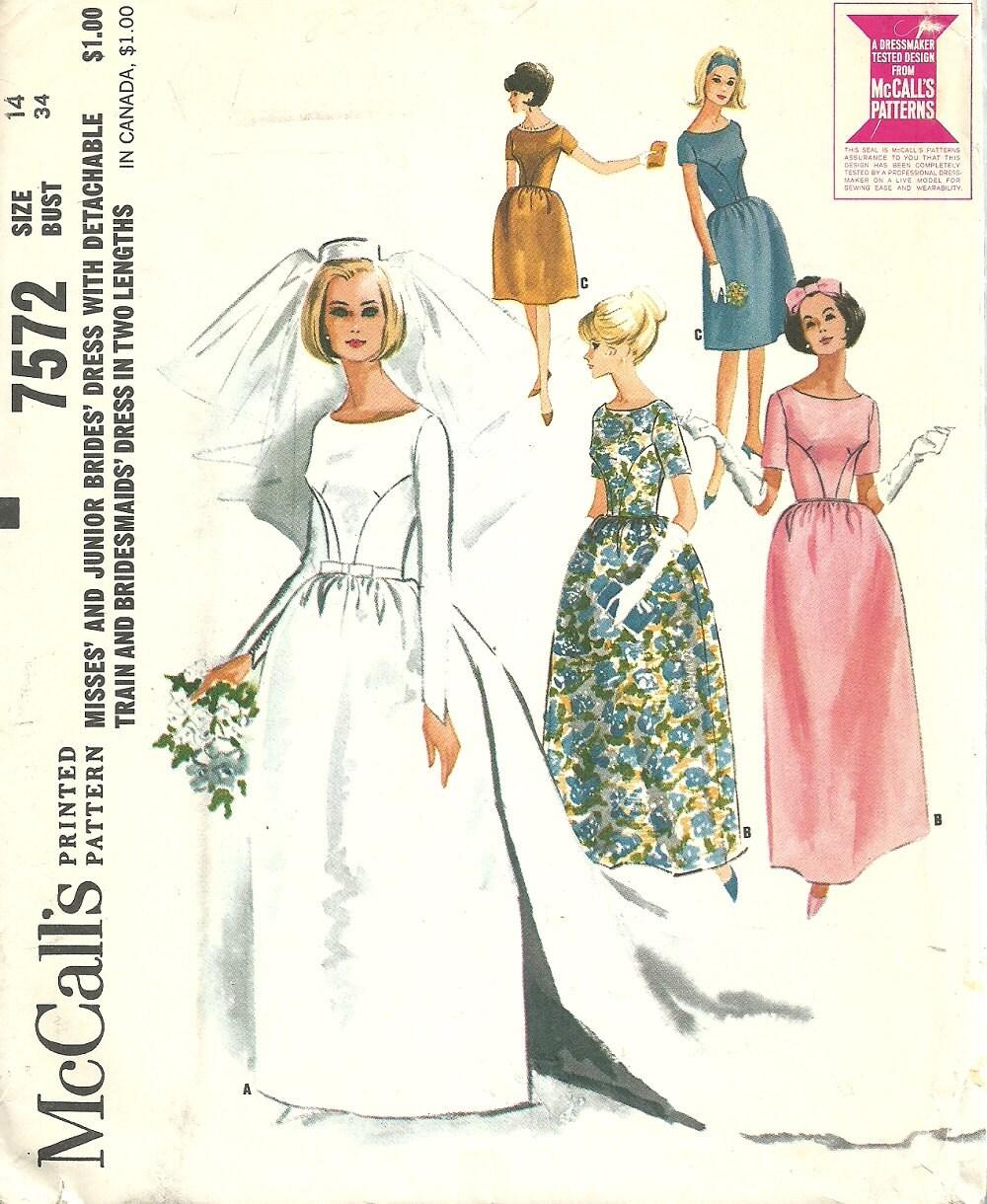 Mccalls 7572 vintage bridal sewing pattern wedding dress for Sewing patterns wedding dress
