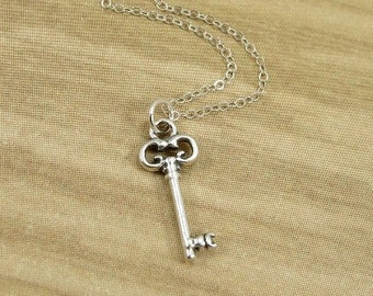 Clover Key Necklace, Sterling Silver Clover Key Charm on a Silver Cable Chain