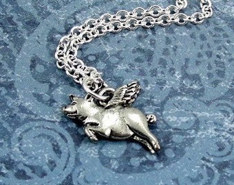 Flying Pig Necklace, Silver Flying Pig with Wings Charm on a Silver Cable Chain