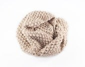 Chunky Caramel Knitted Infinity Scarf - Barley Corn