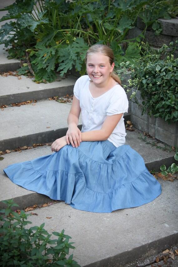 Girls Lightweight Modest Denim Tiered Peasant Prairie Skirt