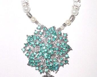 Wedding Bouquet Memorial Photo Timeless Charm Aqua Blue Crystal Gems Pearls Silver Tibetan Beads - FREE SHIPPING
