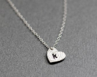 Silver Heart Necklace with Initial, Sideways Personalized Heart Charm, Birch Tree Bark, Sterling Silver