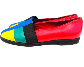 1970s Mod Mondrian Flats Retro Primary Color Block Wearable Art Yves Saint Laurent Inspired Colorful Neon Nina Geometric Fashion 6 1/2 Shoes