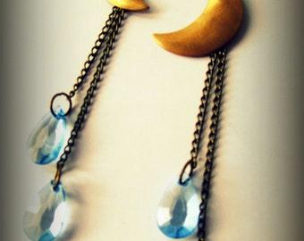 Crescent moon brass earrings, boho jewelry, bohemian earrings