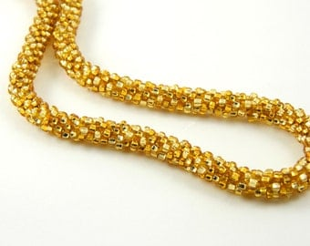 Shiny Gold Kumihimo Necklace