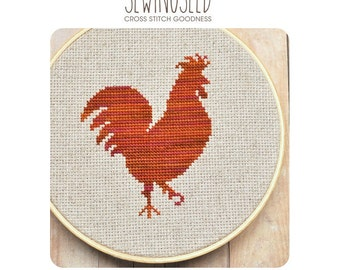 Rooster Silhouette Cross Stitch Pattern Instant Download