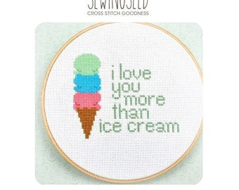 I love you more than ice cream cross stitch pattern Instant Download