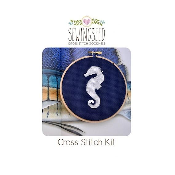 Seahorse Cross Stitch Kit, DIY Embroidery Kit, Beginner Kit