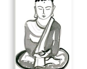 Zen Buddha Shakyamuni, Original Art Sumi Ink Brush Painting, Buddha Meditating for zen decor, yoga studio, childs room, Japan illustration