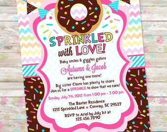 Baby Sprinkle, Donut Baby Shower, Invitation with Donuts and Sprinkles, Baby Girl, Sprinkled with Love Invite