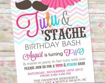 Printable Party Invitation, Invite Design, Tutu and Stache Birthday Bash, Tutu and Mustache, Birthday Invitation, Tutus, Digital or Printed